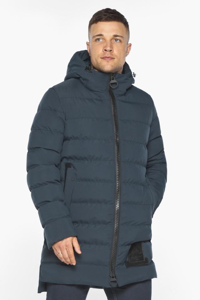 """Мужская брендовая графитово-синяя зимняя куртка модель 49022 Braggart """"Aggressive"""" фото 4"""