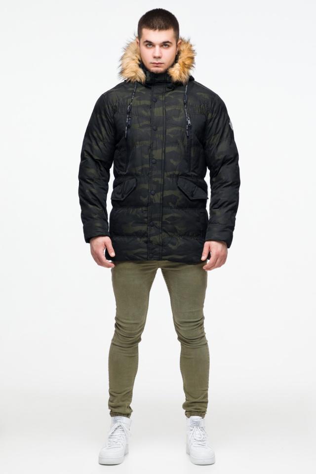 """Зимняя мужская куртка с ветрозащитным клапаном темно-зеленая модель 25450 Braggart """"Youth"""" фото 2"""