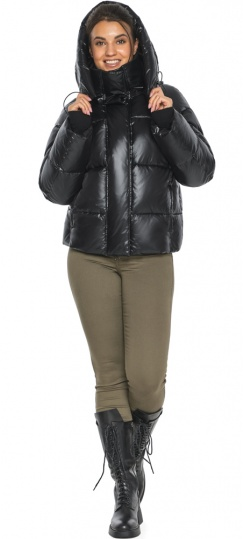 """Черная куртка с высоким воротником женская модель 44210 Braggart """"Angel's Fluff"""" фото 1"""