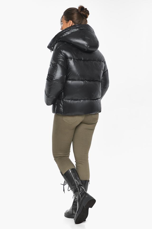 """Черная куртка с высоким воротником женская модель 44210 Braggart """"Angel's Fluff"""" фото 8"""