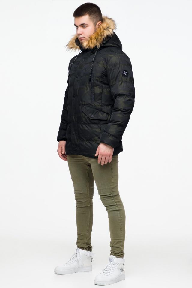 """Зимняя мужская куртка с ветрозащитным клапаном темно-зеленая модель 25450 Braggart """"Youth"""" фото 4"""