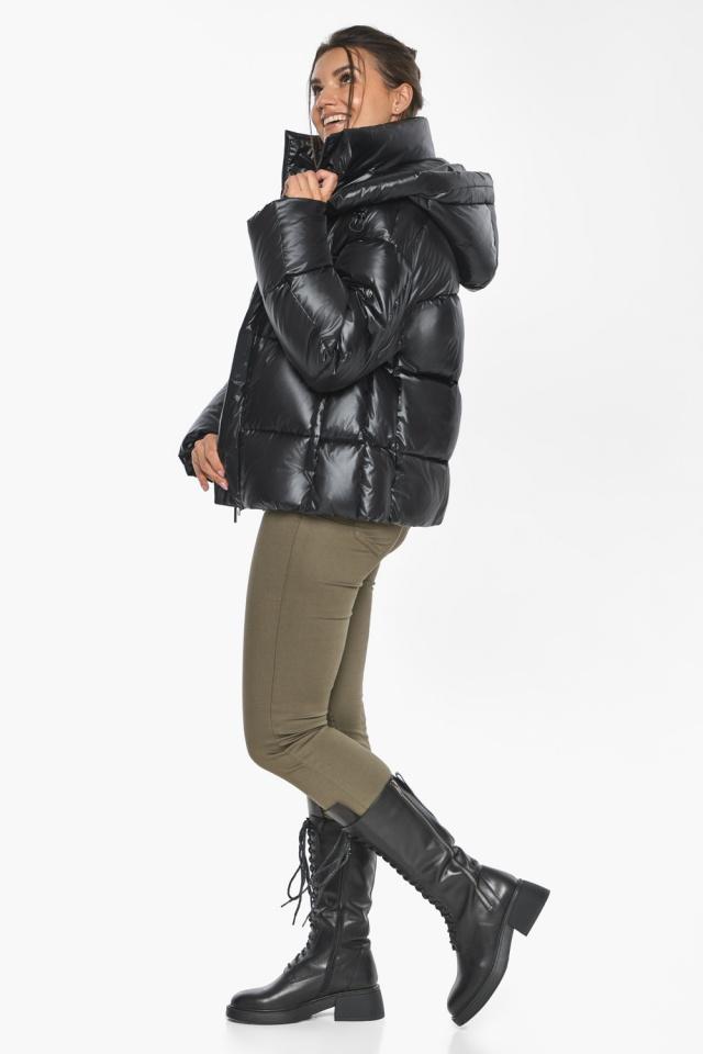 """Черная куртка с высоким воротником женская модель 44210 Braggart """"Angel's Fluff"""" фото 7"""