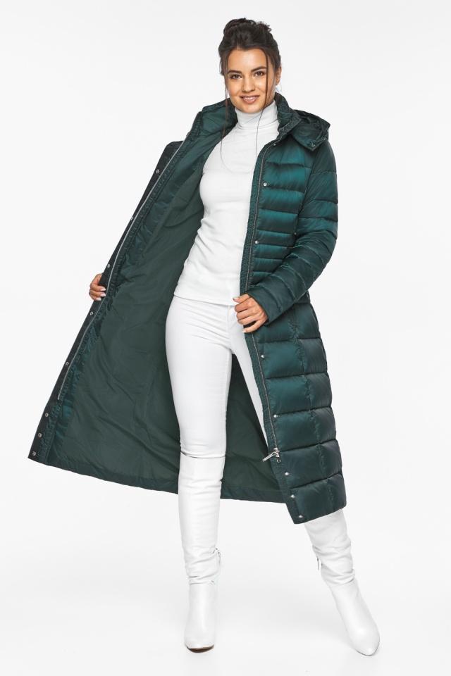 """Изумрудная куртка женская с трикотажными манжетами модель 43575 Braggart """"Angel's Fluff"""" фото 3"""