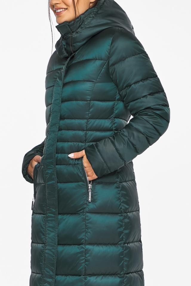 """Изумрудная куртка женская с трикотажными манжетами модель 43575 Braggart """"Angel's Fluff"""" фото 8"""