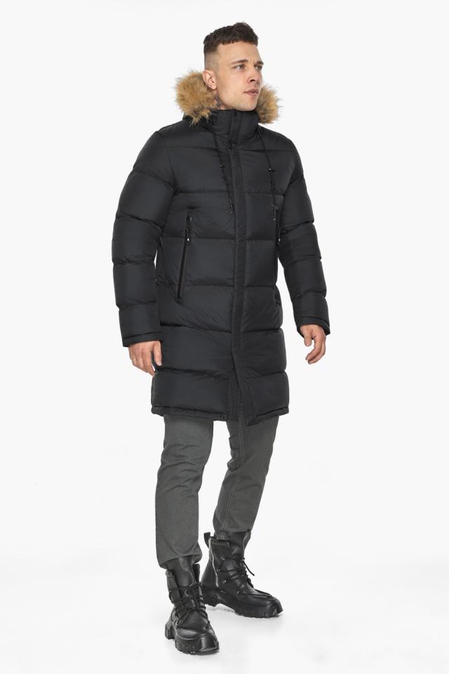 """Мужская куртка комфортной длины чёрная зимняя модель 49318 Braggart """"Dress Code"""" фото 2"""
