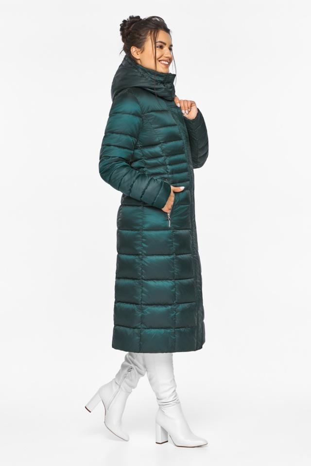 """Изумрудная куртка женская с трикотажными манжетами модель 43575 Braggart """"Angel's Fluff"""" фото 5"""