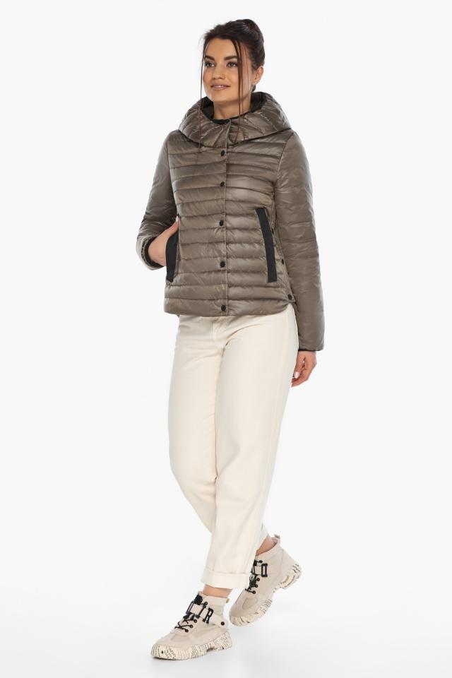 """Капучиновая женская куртка с карманами осенне-весенняя модель 64150 Braggart """"Angel's Fluff"""" фото 2"""