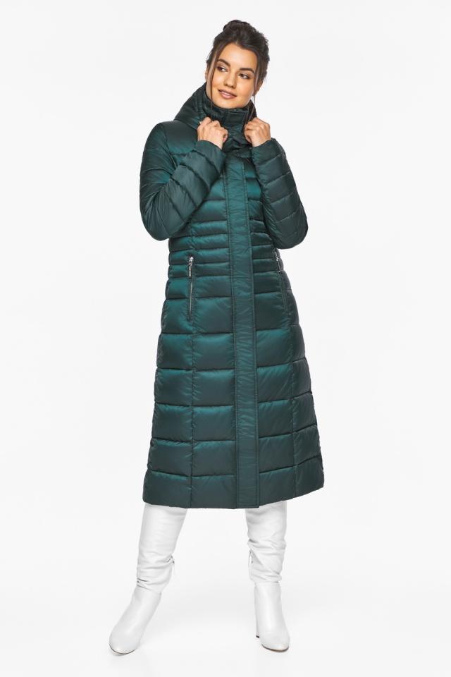 """Изумрудная куртка женская с трикотажными манжетами модель 43575 Braggart """"Angel's Fluff"""" фото 2"""