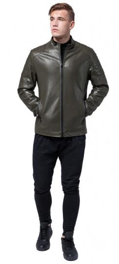 """Кожаная подростковая куртка на мальчика цвет хаки модель 4129 Braggart """"Youth"""" фото 1"""