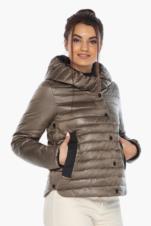 """Капучиновая женская куртка с карманами осенне-весенняя модель 64150 Braggart """"Angel's Fluff"""" фото 3"""