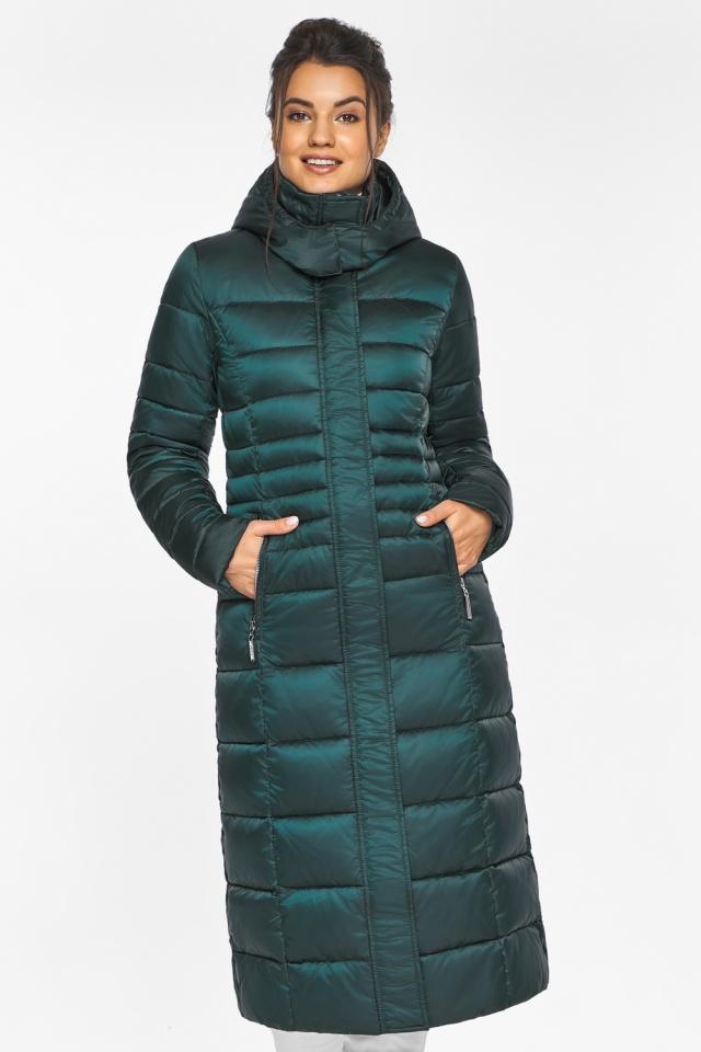 """Изумрудная куртка женская с трикотажными манжетами модель 43575 Braggart """"Angel's Fluff"""" фото 4"""
