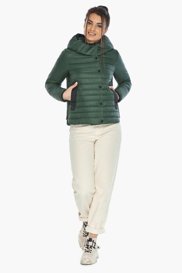 """Нефритовая женская куртка с капюшоном осенняя модель 64150 Braggart """"Angel's Fluff"""" фото 5"""