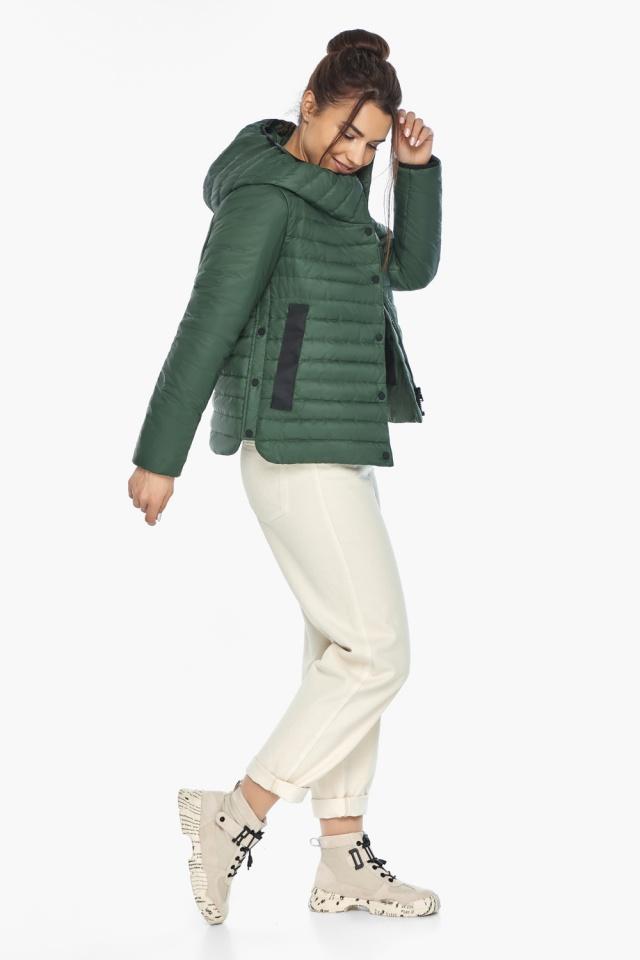 """Нефритовая женская куртка с капюшоном осенняя модель 64150 Braggart """"Angel's Fluff"""" фото 2"""