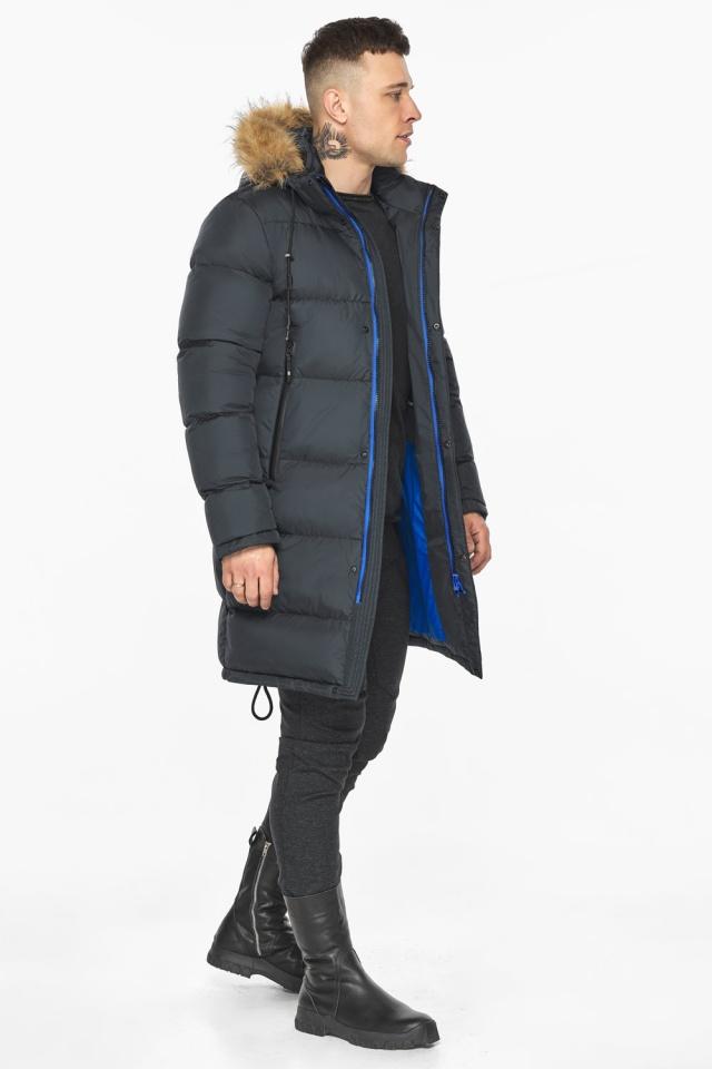 """Зимняя графитовая куртка классического кроя для мужчин модель 49318 Braggart """"Dress Code"""" фото 3"""