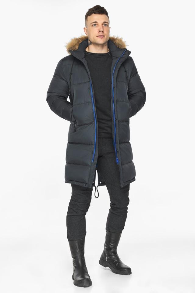 """Зимняя графитовая куртка классического кроя для мужчин модель 49318 Braggart """"Dress Code"""" фото 5"""