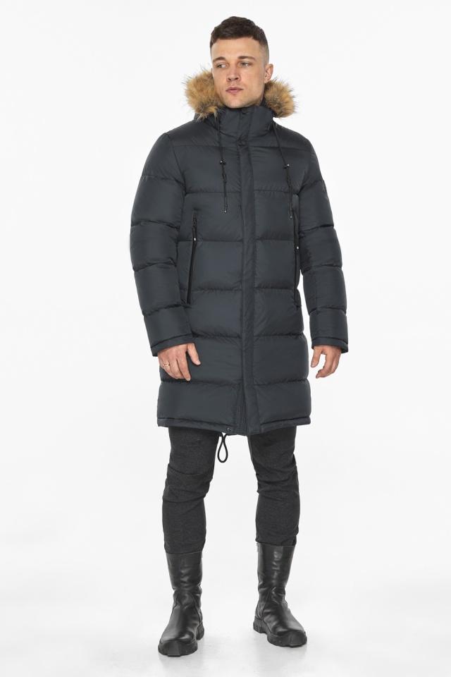 """Зимняя графитовая куртка классического кроя для мужчин модель 49318 Braggart """"Dress Code"""" фото 2"""