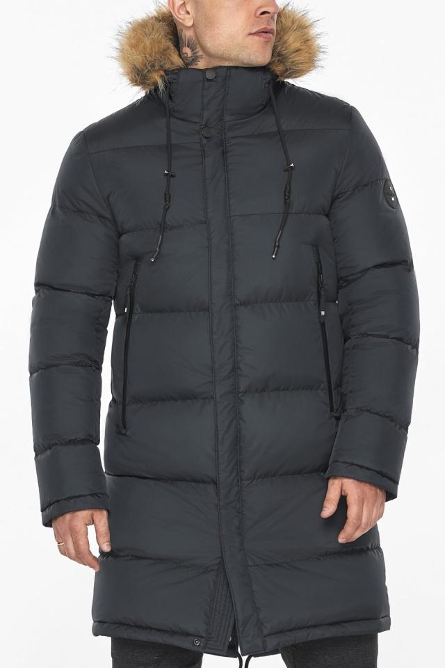 """Зимняя графитовая куртка классического кроя для мужчин модель 49318 Braggart """"Dress Code"""" фото 10"""