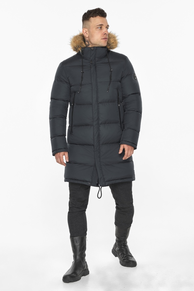 """Зимняя графитовая куртка классического кроя для мужчин модель 49318 Braggart """"Dress Code"""" фото 6"""