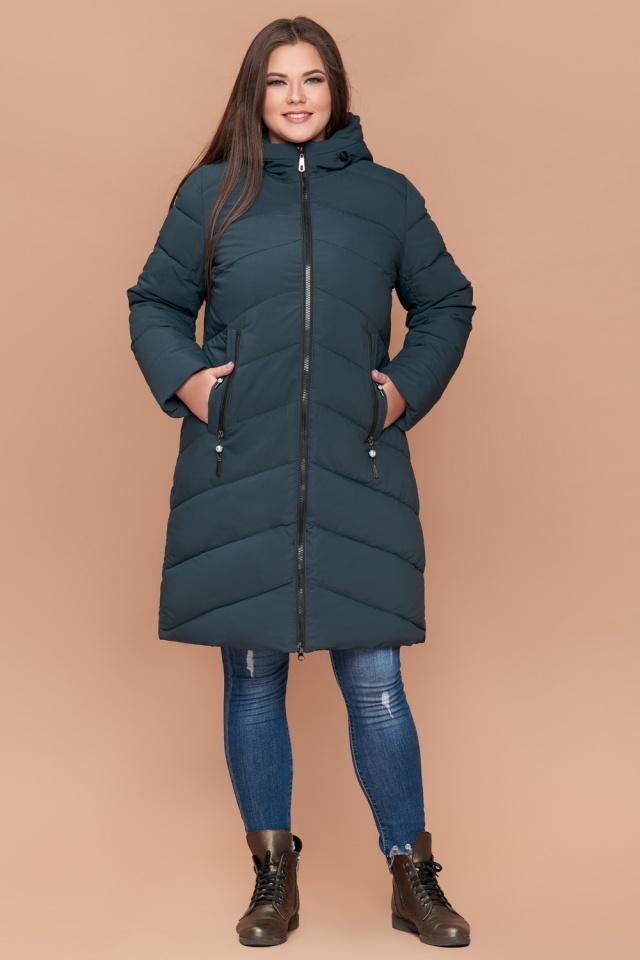 Зимняя куртка бирюзовая большого размера женская модель 25015
