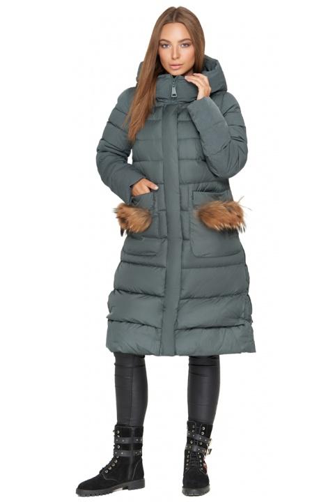 Изумрудная женская куртка с капюшоном зимняя модель 717 Clasna фото 1