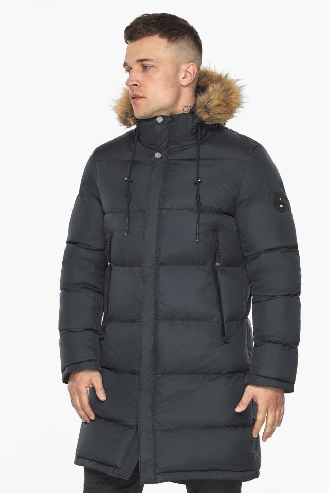 """Зимняя графитовая куртка классического кроя для мужчин модель 49318 Braggart """"Dress Code"""" фото 4"""