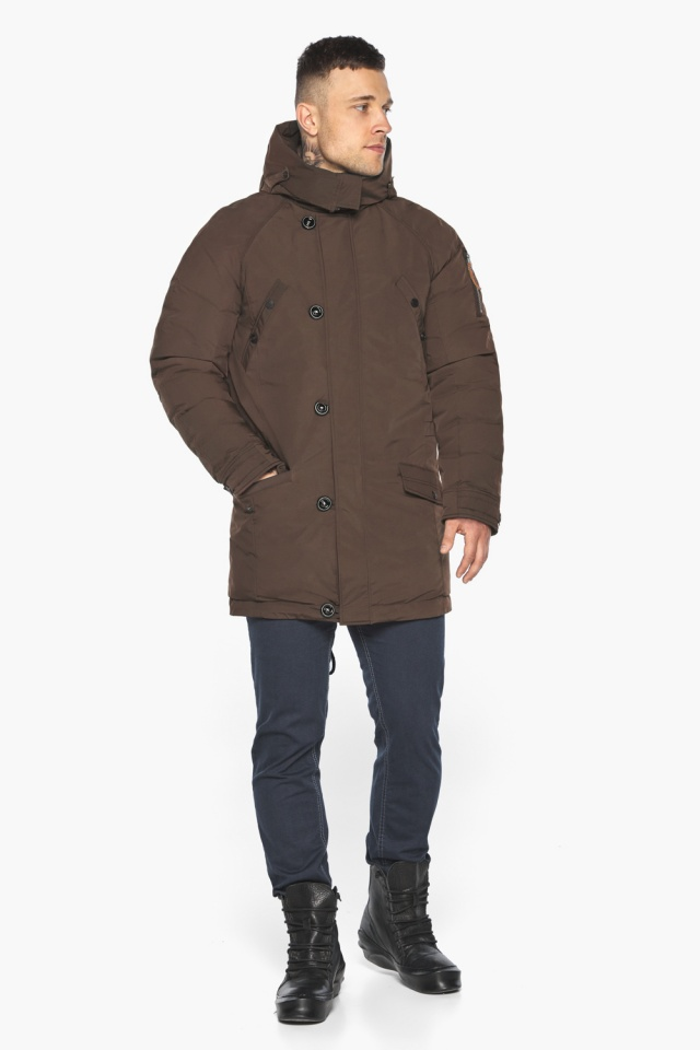 """Куртка – воздуховик коричневый утеплённый мужской зимний модель 30707 Braggart """"Angel's Fluff Man"""" фото 6"""