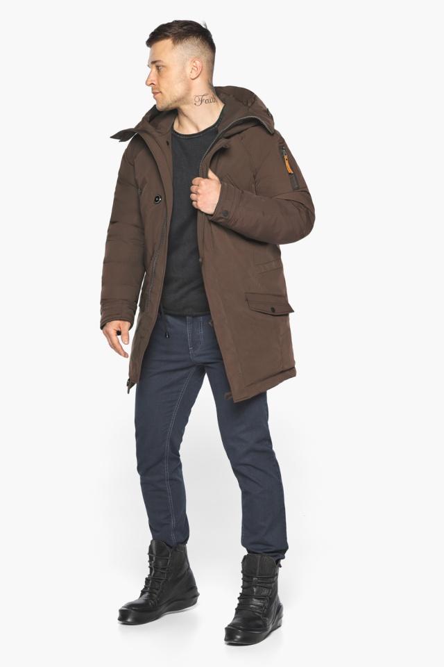 """Куртка – воздуховик коричневый утеплённый мужской зимний модель 30707 Braggart """"Angel's Fluff Man"""" фото 3"""