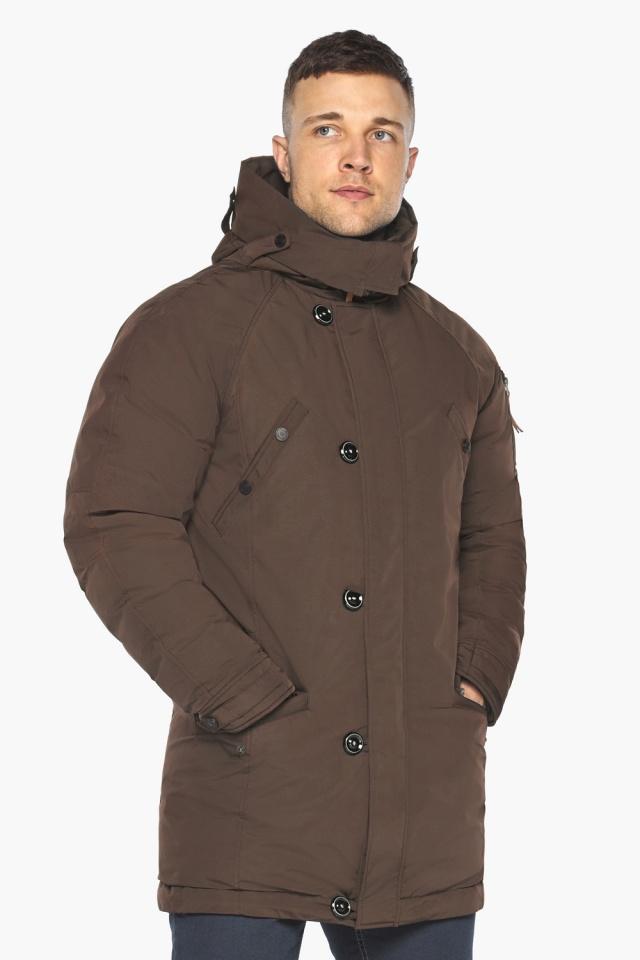 """Куртка – воздуховик коричневый утеплённый мужской зимний модель 30707 Braggart """"Angel's Fluff Man"""" фото 4"""