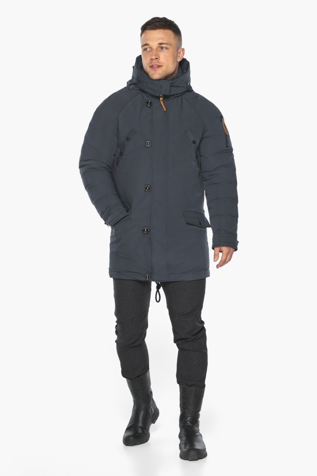"""Куртка – воздуховик мужской зимний удлинённый графитово-синий модель 30707 Braggart """"Angel's Fluff Man"""" фото 4"""