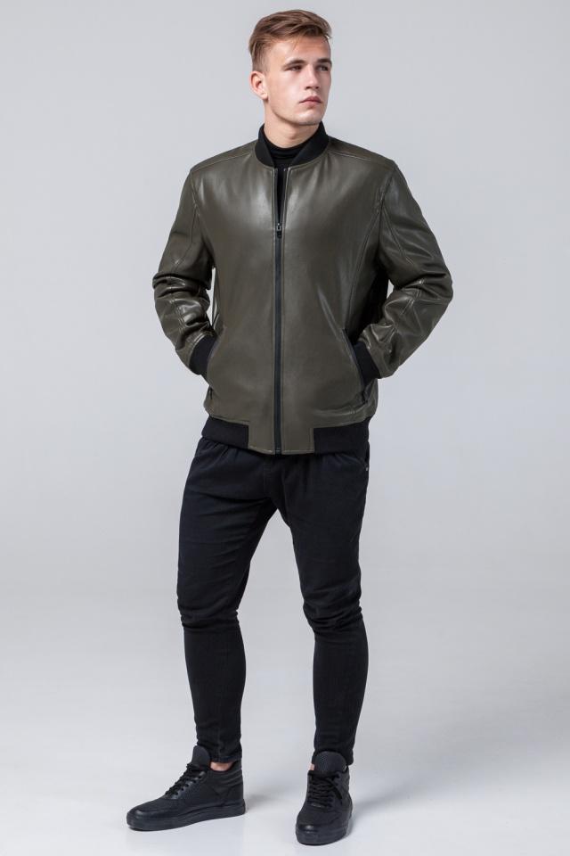 """Кожаная куртка на молнии подростковая цвет хаки модель 4055 Braggart """"Youth"""" фото 2"""