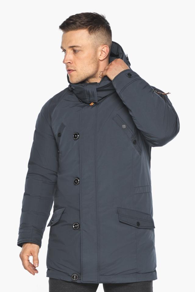 """Куртка – воздуховик мужской зимний удлинённый графитово-синий модель 30707 Braggart """"Angel's Fluff Man"""" фото 6"""