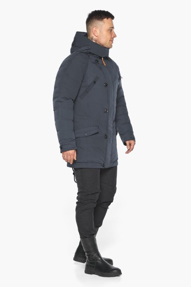 """Куртка – воздуховик мужской зимний удлинённый графитово-синий модель 30707 Braggart """"Angel's Fluff Man"""" фото 8"""