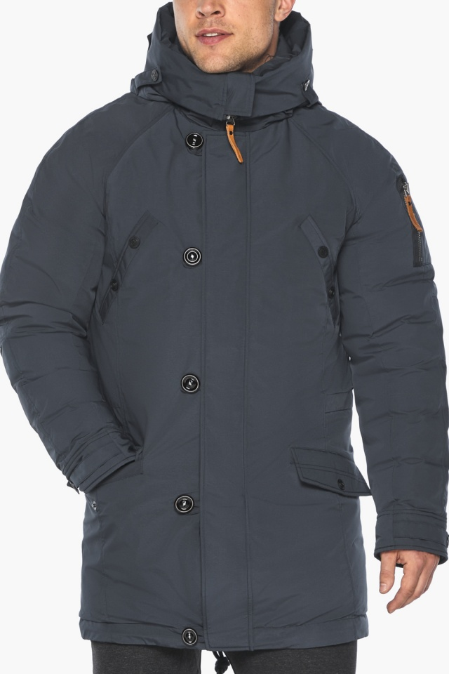 """Куртка – воздуховик мужской зимний удлинённый графитово-синий модель 30707 Braggart """"Angel's Fluff Man"""" фото 10"""
