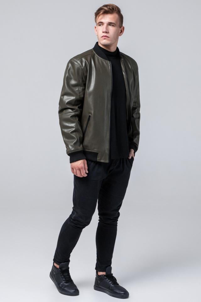 """Кожаная куртка на молнии подростковая цвет хаки модель 4055 Braggart """"Youth"""" фото 3"""