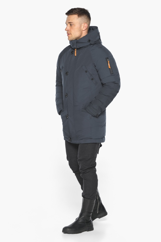 """Куртка – воздуховик мужской зимний удлинённый графитово-синий модель 30707 Braggart """"Angel's Fluff Man"""" фото 5"""