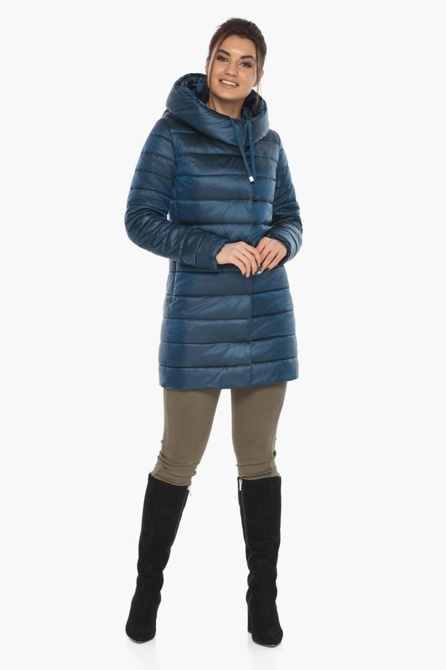 """Куртка удлинённая осенне-весенняя женская цвет тёмная лазурь модель 65085 Braggart """"Angel's Fluff"""" фото 2"""