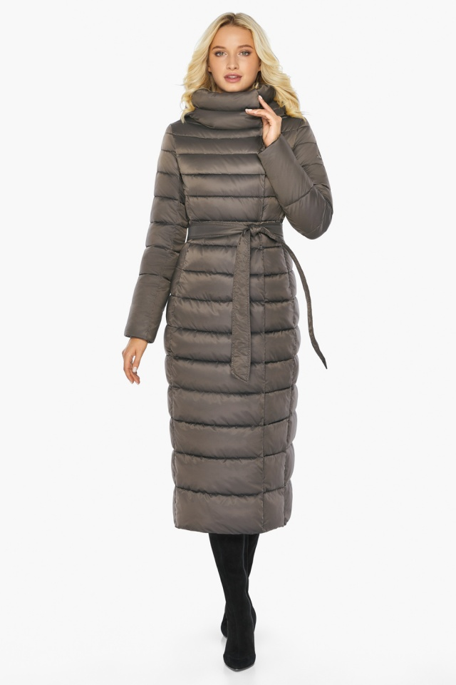 """Капучиновая куртка зимняя женская с вшитым капюшоном модель 46620 Braggart """"Angel's Fluff"""" фото 2"""
