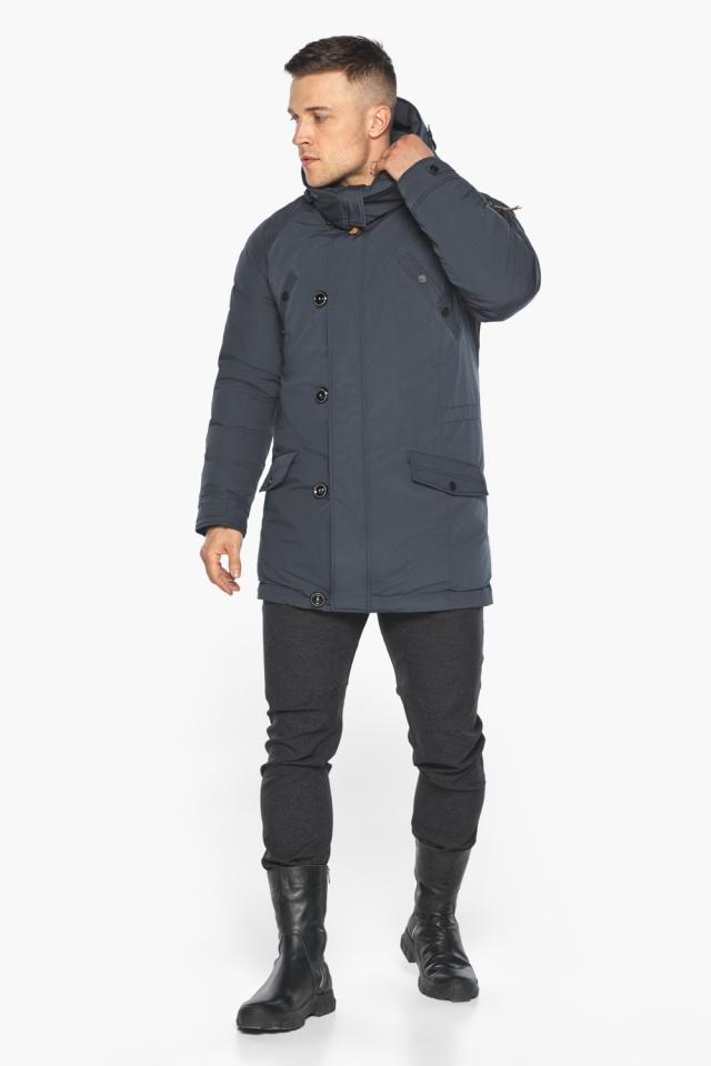 """Куртка – воздуховик мужской зимний удлинённый графитово-синий модель 30707 Braggart """"Angel's Fluff Man"""" фото 2"""