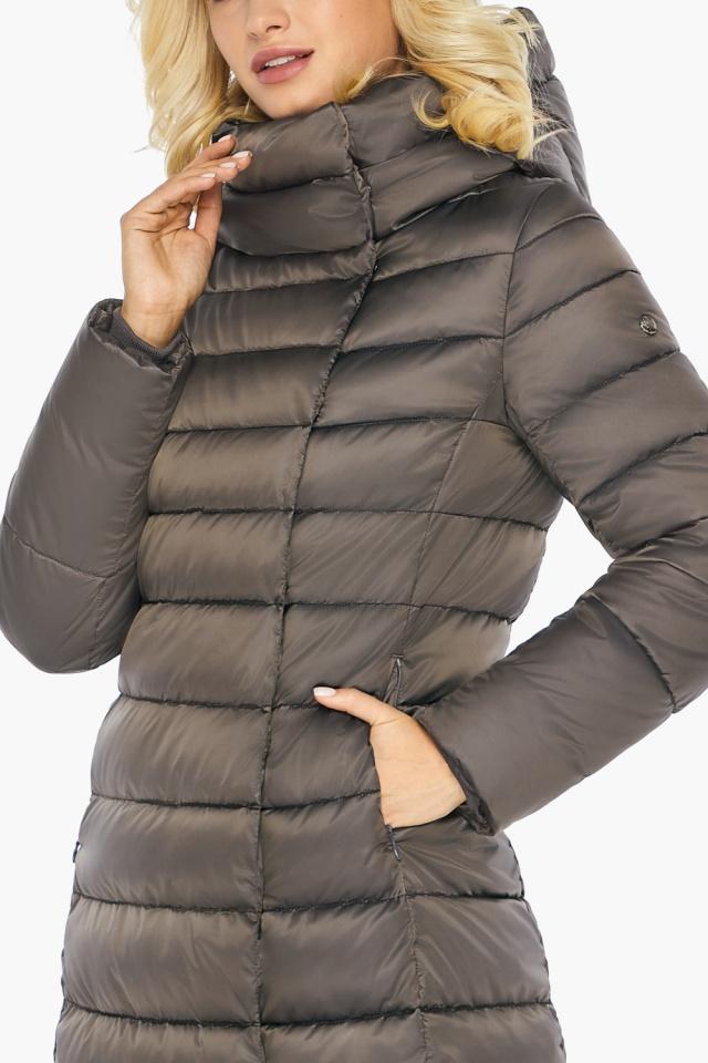 """Капучиновая куртка зимняя женская с вшитым капюшоном модель 46620 Braggart """"Angel's Fluff"""" фото 12"""