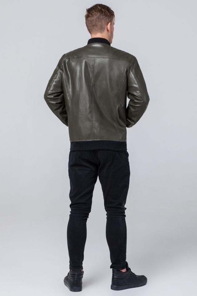 """Кожаная куртка на молнии подростковая цвет хаки модель 4055 Braggart """"Youth"""" фото 5"""
