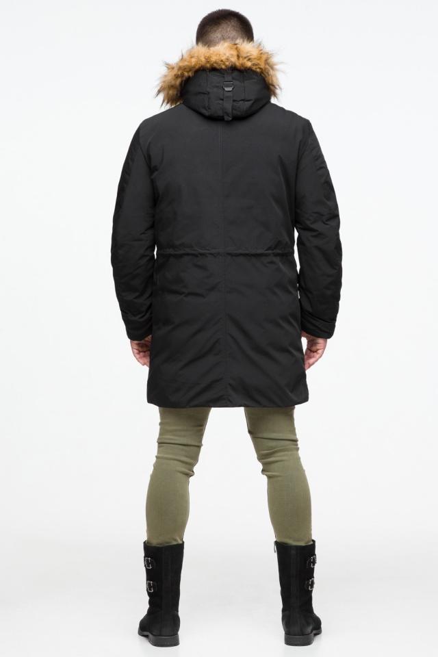 Черная мужская молодежная парка зимняя с опушкой модель 25690