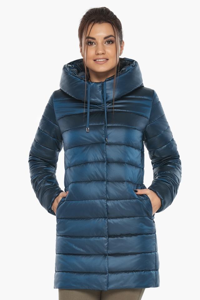 """Куртка удлинённая осенне-весенняя женская цвет тёмная лазурь модель 65085 Braggart """"Angel's Fluff"""" фото 3"""