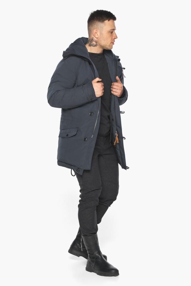 """Куртка – воздуховик мужской зимний удлинённый графитово-синий модель 30707 Braggart """"Angel's Fluff Man"""" фото 3"""