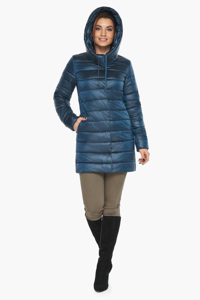 """Куртка удлинённая осенне-весенняя женская цвет тёмная лазурь модель 65085 Braggart """"Angel's Fluff"""" фото 5"""