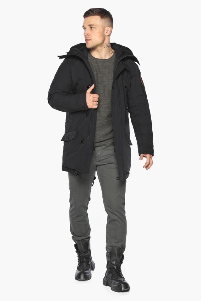 """Куртка – воздуховик прямого кроя чёрный мужской на зиму модель 30707 Braggart """"Angel's Fluff Man"""" фото 6"""