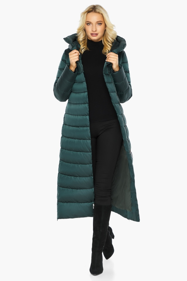 """Куртка зимняя изумрудная женская с манжетами модель 46620 Braggart """"Angel's Fluff"""" фото 3"""