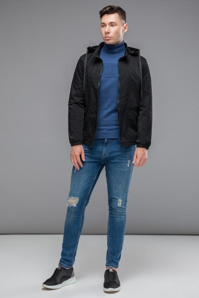 """Черная ветровка мужская осенне-весенняя на молнии модель 38399 Braggart """"Youth"""" фото 3"""