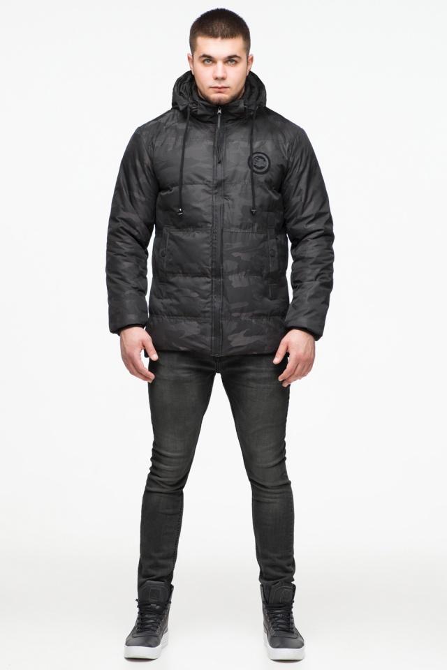 "Камуфлированная зимняя куртка на мужчину чёрная модель 25020 Braggart ""Youth"" фото 2"