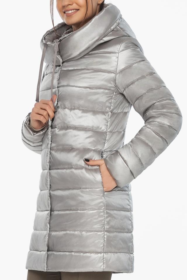 """Люксовая куртка женская на осень цвет перламутровый светло-серый модель 65085 Braggart """"Angel's Fluff"""" фото 8"""