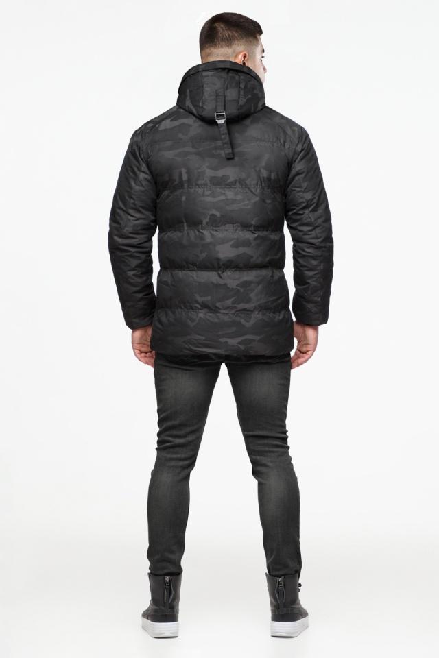 "Камуфлированная зимняя куртка на мужчину чёрная модель 25020 Braggart ""Youth"" фото 5"